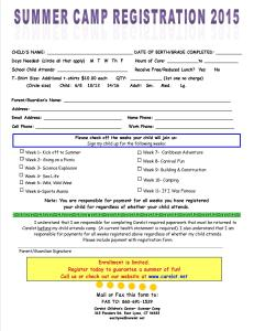 2015 Carelot Summer Camp Registration Form-School Age