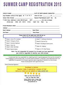 2015 Carelot Summer Camp Registration Form-School Age